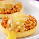 Baked beans and cheese on an english muffin